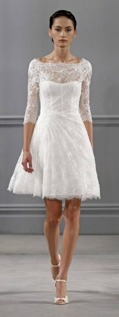 Boat neckline, 3/4 sleeves, lace #Short #Wedding #Dress ♡ For how to organise an entire wedding ... on a budget https://itunes.apple.com/us/app/the-gold-wedding-planner/id498112599?ls=1=8 ♥ THE GOLD WEDDING PLANNER iPhone App ♥  http://pinterest.com/groomsandbrides/boards/ for an abundance of wedding ideas ♡