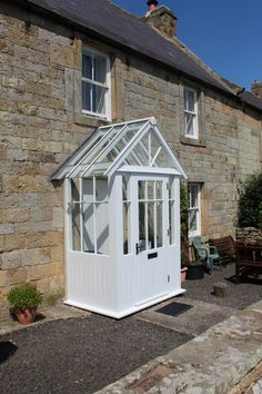 Projecting Timber Porch in Rural Northumberland - Blackthorn Timber supplies and installs timber windows, doors & conservatories. Porch Gazebo, Porch Uk, House Front Porch, Front Porch Design, Side Porch, Porch Canopy, Front Porches, Victorian Porch, Victorian Cottage