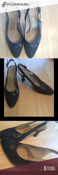 FERRAGAMO Navy Blue Kitten Heels Size 6 1/2 These shoes are in great condition! Let me know if you have any questions! OPEN TO OFFERS Ferragamo Shoes Heels