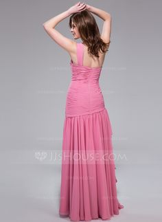 A-Line/Princess One-Shoulder Floor-Length Chiffon Prom Dress With Beading Cascading Ruffles (007040792) - JJsHouse