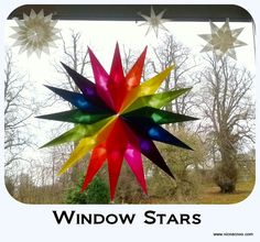 window stars tutorial  - sun catchers. Use kite paper or tissue paper