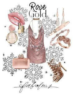 """Fabulous Rose Gold"" by forgottenmelody on Polyvore featuring Givenchy, Effy Jewelry, Monica Vinader, Harry Winston, Bulgari, Lime Crime, Clarins, Jimmy Choo and Stella & Dot"