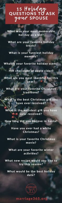 15 Holiday Questions to Ask Your Spouse!