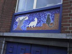 Cat mosaic on house façade, Brussels, Belgium, no. 1