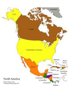 north america south america map outline North America Control Maps: Blank, Colored, Labeled Maps of North . North America Continent Map, North America Geography, Central America Map, South America Map, Geography For Kids, Geography Map, Maps For Kids, Color Montessori, Montessori Activities