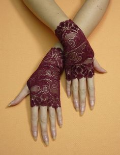 Short gothic Gloves Fingerless Gloves in Red Wine by estylissimo, $18.00