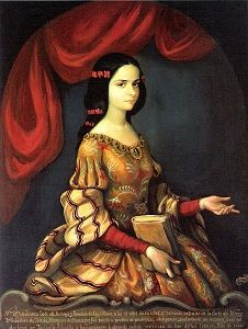 Juana Inés de la Cruz (12 november 1648 of 1651 - 17 april 1695) Als 15-jarige. Portret geseigneerd met J. Sánchez, 17e eeuw
