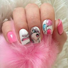 Adorable Easter Nail Art Designs You Must Try Easter nails; Egg And Bunny Nail Art Designs; Easter Nail Designs, Easter Nail Art, Nail Designs Spring, Toe Nail Designs, Nails Design, Cartoon Nail Designs, Birthday Nail Art, Birthday Design, Birthday Makeup
