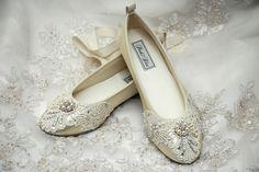 Wedding Shoes - Ballet Flats, Vintage Lace,  With Swarovski Crystals,  Elizabeth Bridal Shoes- PBT-0181