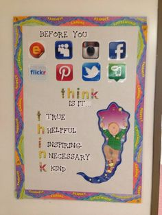Classroom bulletin board. Anti-cyber bully message.