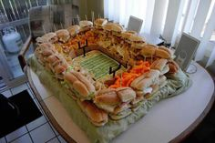 Sandwiches made into a stadium!