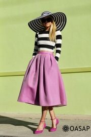 Striped Crop Top Pleated Bud Skirt Matching Set