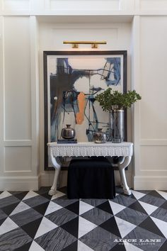 Custom design black and white marbled floors in this stunning entryway. French Moderne Manor - Alice Lane Home Interior Design Home Interior Design, Decor, Interior Design, House Interior, Foyer Decorating, Home, Decor Interior Design, Interior, Floor Patterns