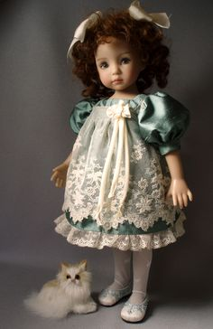 Silk and Lace dress for Dianna Effner Little Darling Dolls, by House-of-Bleus.  French pattern from early 1900s.