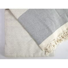 Picnic Blanket made of Turkish Towel in Diamond Patterns Gray