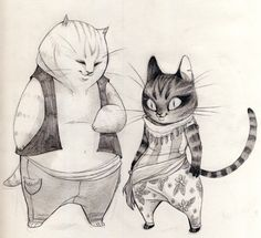 """My two cats Hema and Näkki have such different """"character designs"""" they're always fun to draw!"""