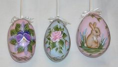 Set of 3 Gourd Easter Eggs   Hand Painted Bunny by FromGramsHouse