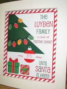 Personalized Christmas Countdown printable custom by CreaseStudio