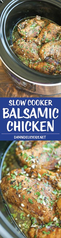 Slow Cooker Balsamic Chicken - Let the crockpot do all of the work in the easiest dish of all time. Simply throw everything in with 5 min prep.: (cook chicken in crockpot olive oils) Crock Pot Recipes, Slow Cooker Recipes, Chicken Recipes, Cooking Recipes, Healthy Recipes, Crockpot Meals, Oven Recipes, Quick Recipes, Recipes Dinner