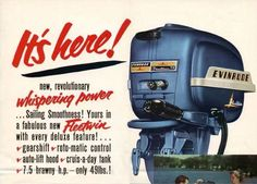 #evinrude #evinrudeoutboards #fleetwin 1954 7.5 hp Beaty.  http://www.garzonstudio.com/outboard/evinrude.html