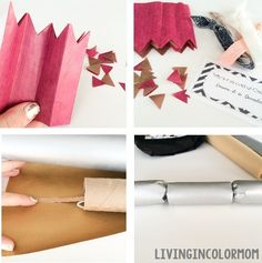 DIY Christmas Crackers. Fill with presents and pull them at Christmas Dinner! Adorable Christmas tradition. On livingincolormom.com
