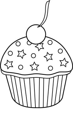 cute cupcake outline to color in