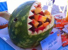 LittleLicious Kids Beach Party Idea- Watermelon Shark to serve fruit!
