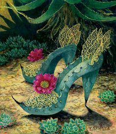 For the agave lover, desert gardener, or shoe lover -- fanciful prints of heels and boots made of cactus, succulents, and other desert denizens by Arizona artist Carolyn Schmitz. Reasonably priced and sure to elicit a smile. Made in USA. Cactus Pictures, Fairy Shoes, Paper Shoes, Snake Skin Dress, Desert Art, Plant Art, Shoe Art, Crazy Shoes, Oeuvre D'art