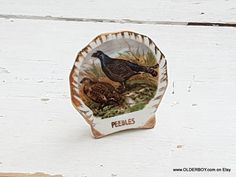 Vtg little FLOWER VASE from PEEBLES Liverpool Pottery Ltd Fine bone China porcelain pot birds pheasants motif bowl vtg Scotch gift K07/864