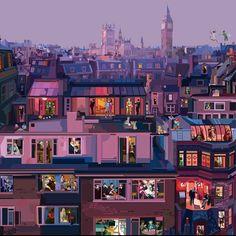 "Pierpaolo Rovero: ""London drinks tea How many celebrities can you recognize? London Illustration, People Illustration, Graphic Design Illustration, Illustration Art, Audrey Kawasaki, Robert Mcginnis, Skottie Young, Transformers Art, Paris Amor"