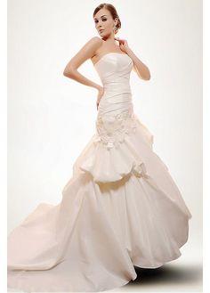 EXQUISITE SATIN A-LINE STRAPLESS ASYMMETRICAL WAIST DRAPED PICK-UP BEADED WEDDING DRESS GOWN