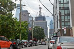 A shot down N. 19th St. (L-R) Skyscrapers: Comcast Center, Three Logan Square, Mellon Building, New Comcast Tower, and the G. Fred DiBona Jr. Building, formerly the Blue Cross-Blue Shield IBX Tower.