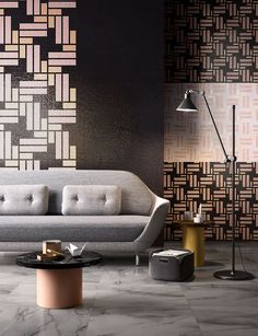 Africa Now is the latest collection of mosaic tiles from Mosaico+ that use bold, graphic patterns in contrasting colors to resemble African fabric.