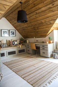 Fixer Upper Season, home office in attic makeover, adding a home office to an attic bonus room design with window seat, kid playroom and desk area in rustic attic Home Office Design, Home Office Decor, Home Design, Office Ideas, Office Furniture, Furniture Ideas, Office Designs, Design Ideas, Bonus Room Design