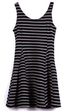 Black Scoop Neck Sleeveless Striped Tank Dress