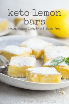 A low-carb, sugar-free Keto Lemon Bar Recipe. I finally was able to come up with a ketogenic Lemon Bar Recipe that is so close to the real thing that I don't even miss the ones I used to make at home! #keto #ketogenic #ketosis #ketogenicdiet #lchf #lowcar