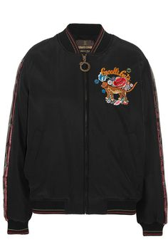 Roberto Cavalli - Embellished Embroidered Silk Bomber Jacket - Black - IT