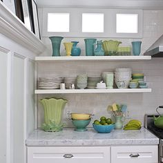 operation organization: Organizing Small Spaces :: Maximize Storage With Shelving (even open shelving can look cute if items are kept sparse and organized - K) Butcher Block Countertops, Concrete Countertops, Kitchen Countertops, Butcher Blocks, Wainscoting Styles, Wainscoting Bathroom, Black Wainscoting, New Kitchen, Kitchen Decor