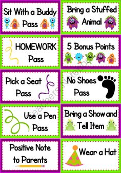 Monster Themed Positive Behavior Coupons - FREE from FlapJack Ed Resources on TeachersNotebook.com (1 page)