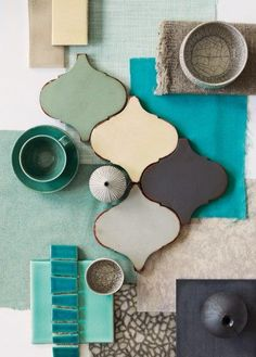 Balance of texture, shapes, and color...where's the soft pink? Coral maybe? ;) Hallway Colours, Room Colors, House Colors, Teal Color Schemes, Anthropologie Home, Color Tile, Color Palate, Flat Ideas, Color Swatches