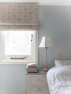 Beautiful handmade Roman Blind made by Rascal & Roses using Sarah Hardaker linen which goes perfectly with the Farrow & Ball Borrowed Light on the walls. Farrow And Ball Living Room, Living Room Grey, Living Room Decor, Farrow And Ball Kitchen, Living Rooms, Farrow Ball, Farrow And Ball Paint, Blue Bedroom, Bedroom Colors