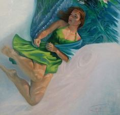 Underwater Figurative Painting, part of the underwater portrait and figurative series of my Women Painting Women Book of Water collection, The Thing With Feathers - Hope, 30x36 oil painting on linen canvas. #underwaterfigurepainting #contemporaryart #progressiverealism #figurepainting #underwaterart