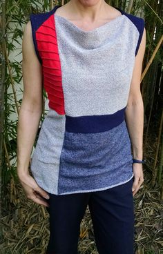 Paneled Jersey Top, Sleeveless,  in solids
