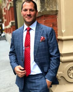 6a043add2 Fighting those midweek blues with a marine blue check suit in cloth from.  Michael Andrews Bespoke