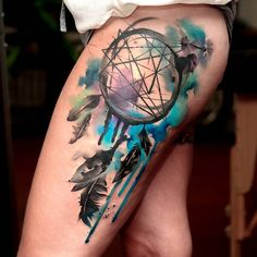 Watercolor dreamcatcher thigh tattoo - 60 Dreamcatcher Tattoo Designs for Women <3 <3