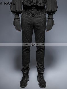 Punk Rave Vintage Black Pattern Gothic Pants for Man Gothsmycken 01a340a547b04