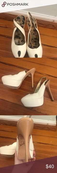 •Sam Edelman• White Peep Toe Heels Only worn once, do need a little cleaning. Sam Edelman Shoes