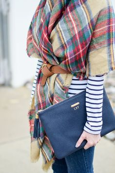 I wouldn't belt the scarf but I like the stripes and plaid. And I have both pieces already.