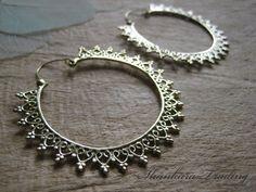 Tribal Brass Earrings, Hoop Earrings, Tribal Jewellery, Indian Earrings, Ethnic Earrings, Belly Dance Jewelry, Bohemian Earrings, Big Hoops