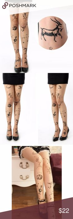 """NWT Sexy Tattoo Tights Stockings Constellation Tattoo Tights Constellation prints Nude color  High quality tights  New in original packaging Handwash In Cold Water One Size fits most S, M, L frames (Height 5'-5'8"""") SS Accessories Hosiery & Socks"""